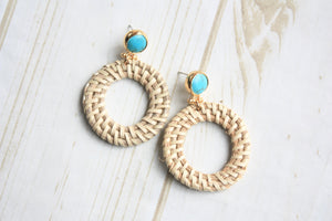 Turquoise Post w/ Wicker Circle