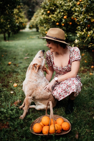 Katie from Olive Wood Vegan with her cute dog