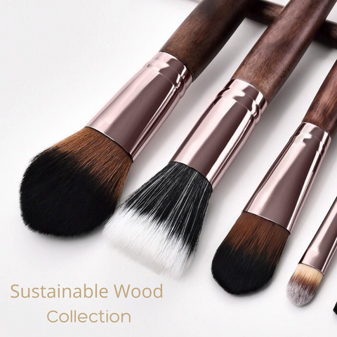 Sustainable wood vegan makeup brushes