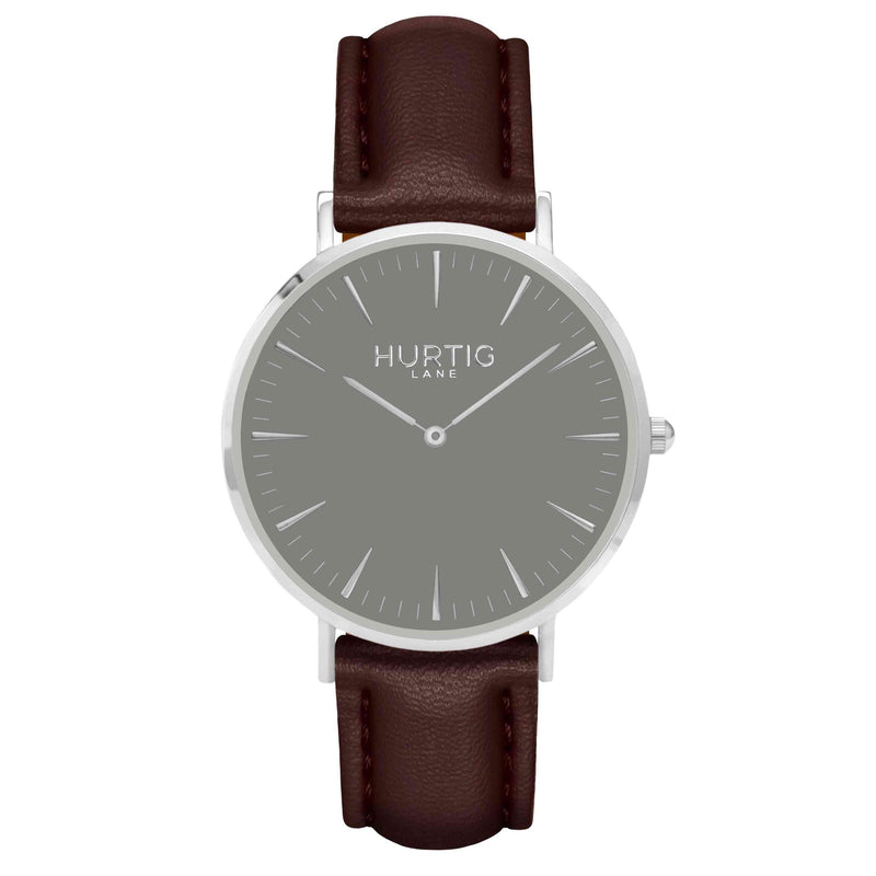 Vegan leather watch silver, grey and dark brown- hurtig lane- vegane uhren