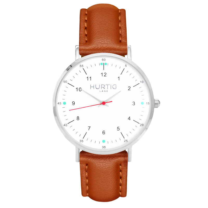 hurtig lane vegan leather watch silver, white and tan. Vegane uhren