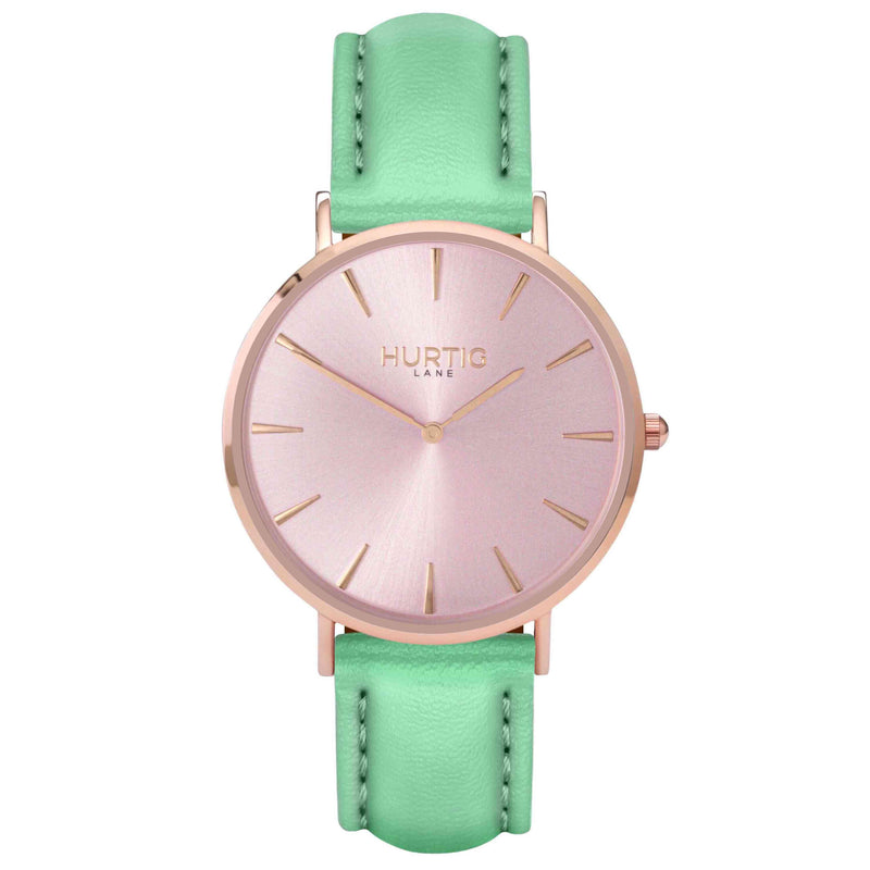 hurtig lane- Vegan leather watch Rose gold and mint - vegane uhren