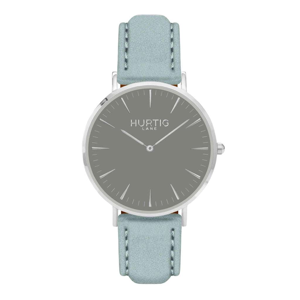 Hymnal Vegan Suede Watch Silver, Grey & Duck Egg - Hurtig Lane - sustainable- vegan-ethical- cruelty free