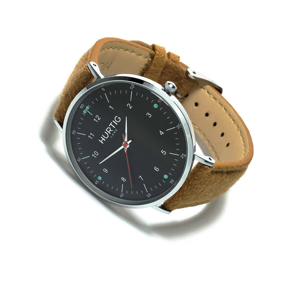 Moderno Vegan Tweed Silver/Black/Camel Brown Watch Hurtig Lane Vegan Watches