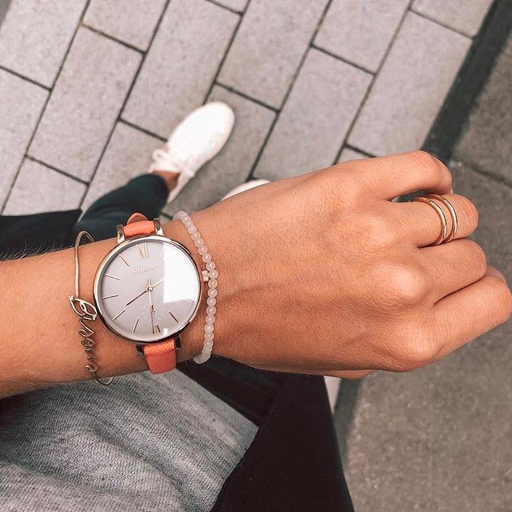 Amalfi Petite Vegan Leather Silver/Grey/Coral Watch Hurtig Lane Vegan Watches