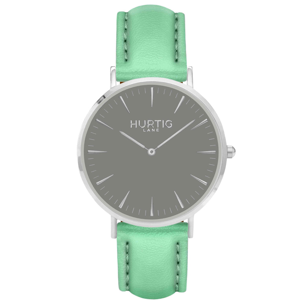 Vegan leather watch silver, grey and mint- hurtig lane- vegane uhren