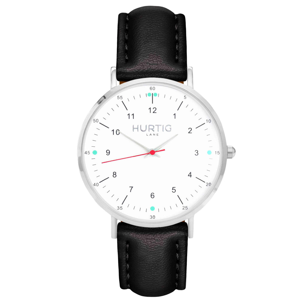 hurtig lane vegan leather watch silver, white and black. Vegane uhren