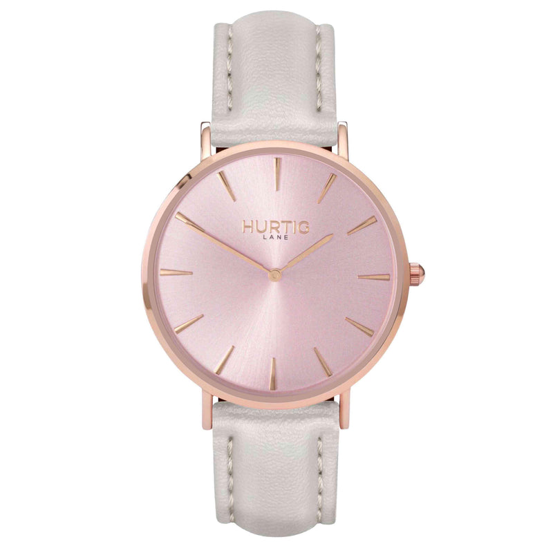 hurtig lane- Vegan leather watch Rose gold and grey - vegane uhren