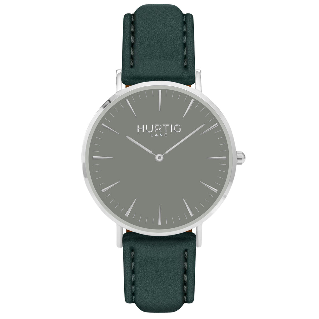 Hymnal Vegan Suede Watch Silver, Grey & Forest Green - Hurtig Lane - sustainable- vegan-ethical- cruelty free