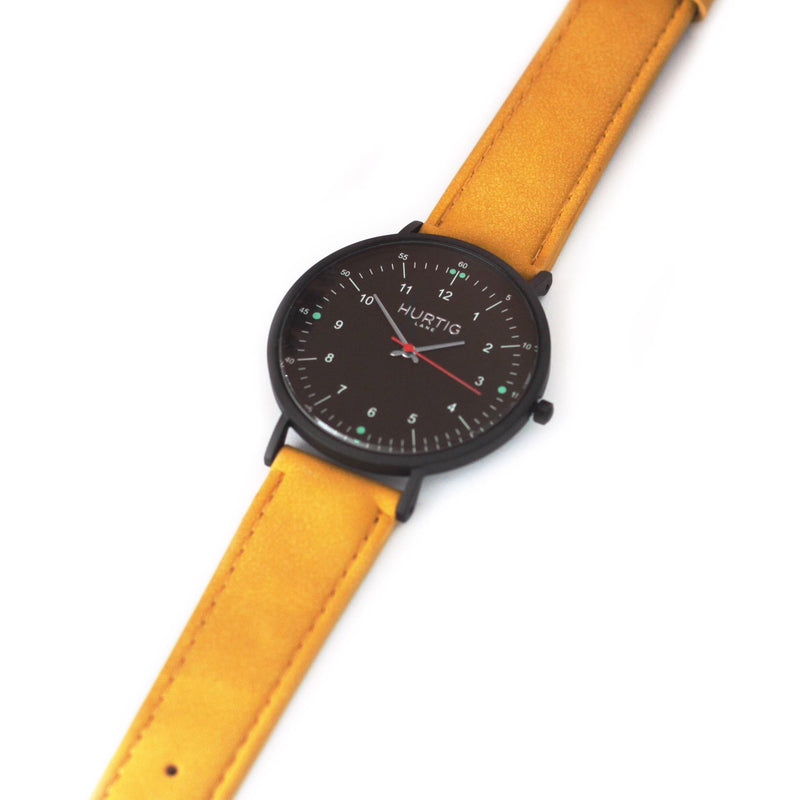 Moderno Vegan Suede All Black/Mustard Watch Hurtig Lane Vegan Watches