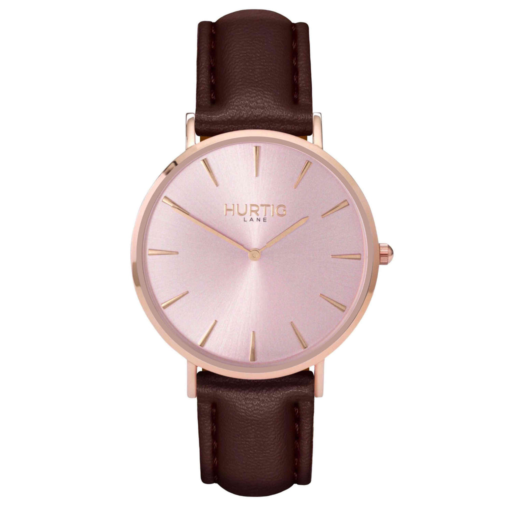 Mykonos Vegan Leather All Rose & Chestnut Watch Hurtig Lane Vegan Watches