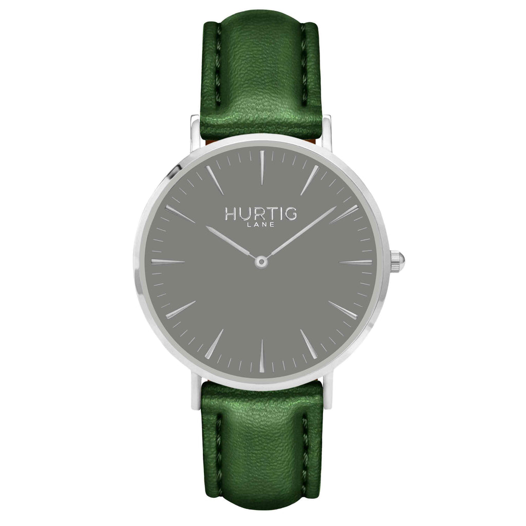 Mykonos Vegan Leather Watch Silver, Grey & Green Watch Hurtig Lane Vegan Watches