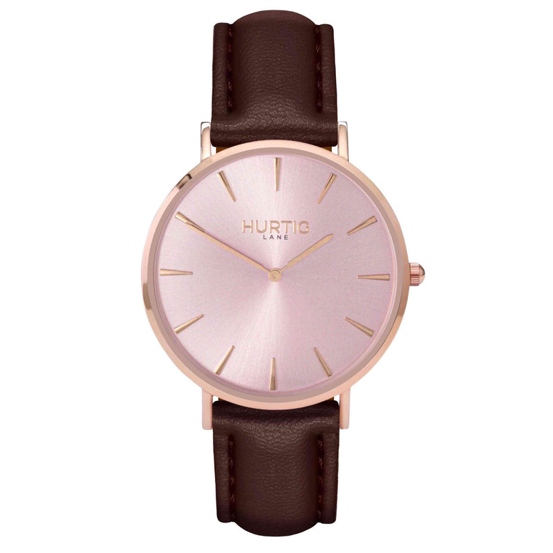 hurtig lane- Vegan leather watch Rose gold and chestnut - vegane uhren