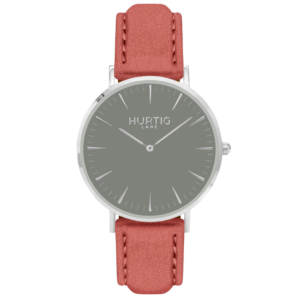 Hymnal Vegan Suede Watch Silver, Grey & Coral - Hurtig Lane - sustainable- vegan-ethical- cruelty free