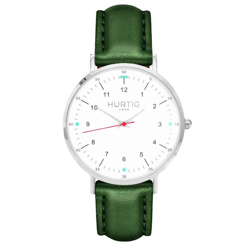 hurtig lane vegan leather watch silver, white and green. Vegane uhren