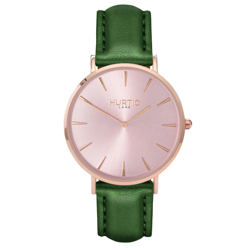 hurtig lane- Vegan leather watch Rose gold and green - vegane uhren