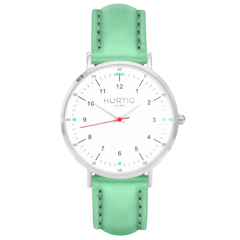 hurtig lane vegan leather watch silver, white and mint. Vegane uhren
