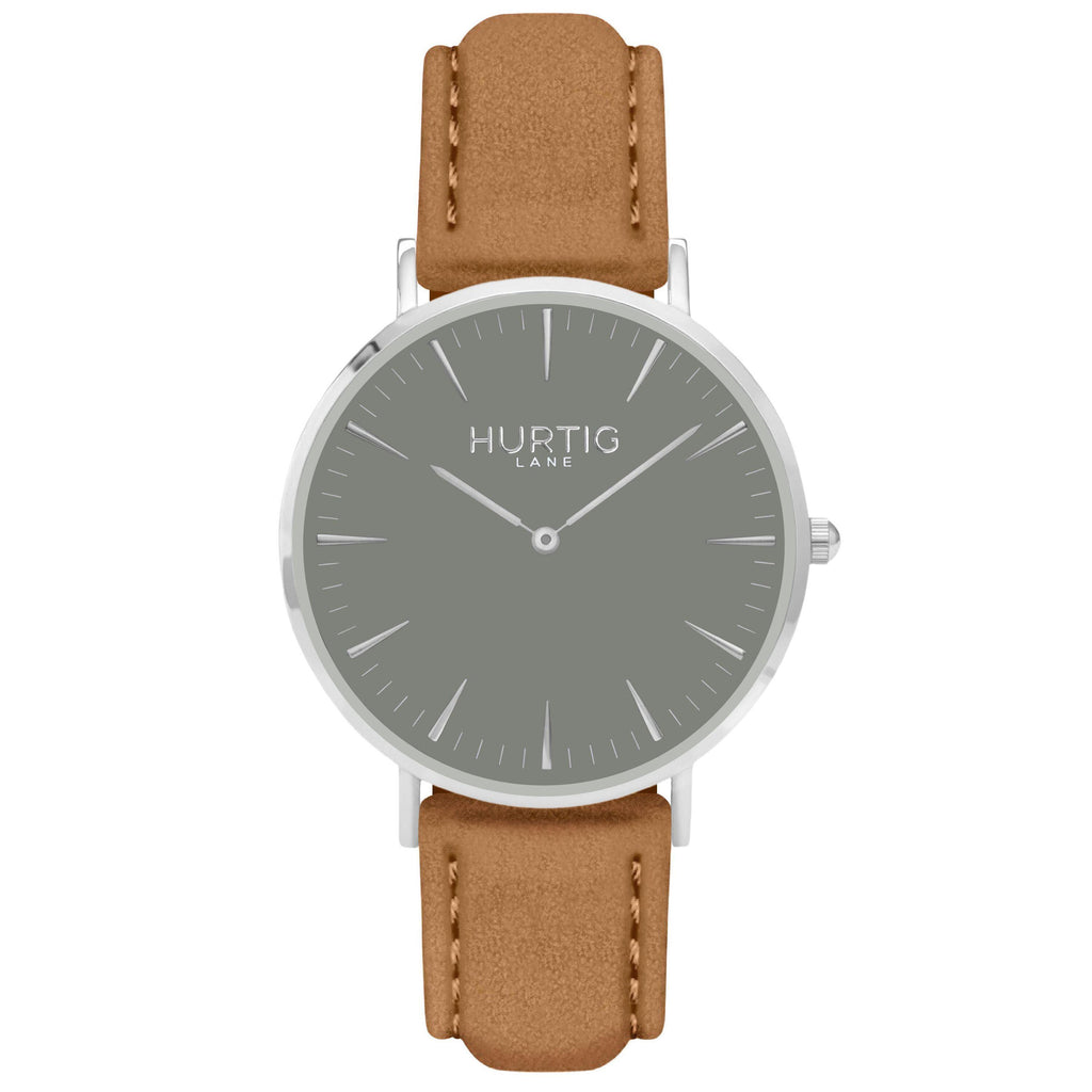 Hymnal Vegan Suede Watch Silver, Grey & Camel - Hurtig Lane - sustainable- vegan-ethical- cruelty free