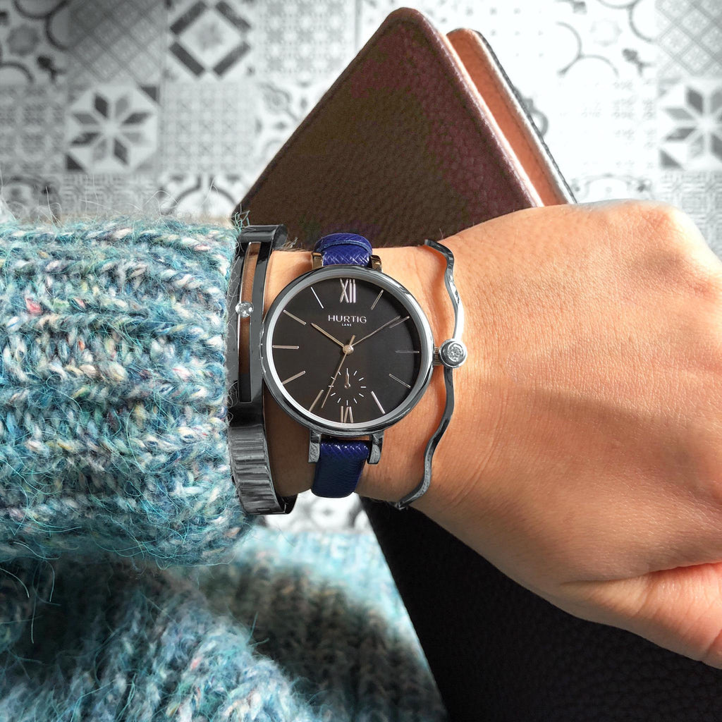 Amalfi Petite Vegan Leather Silver/Black/Marine Blue Watch Hurtig Lane Vegan Watches