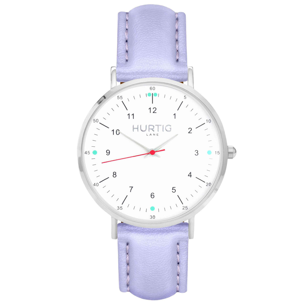 hurtig lane vegan leather watch silver, white & lilac vegane uhren