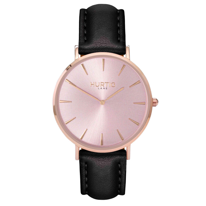 hurtig lane- Vegan leather watch Rose gold and black - vegane uhren