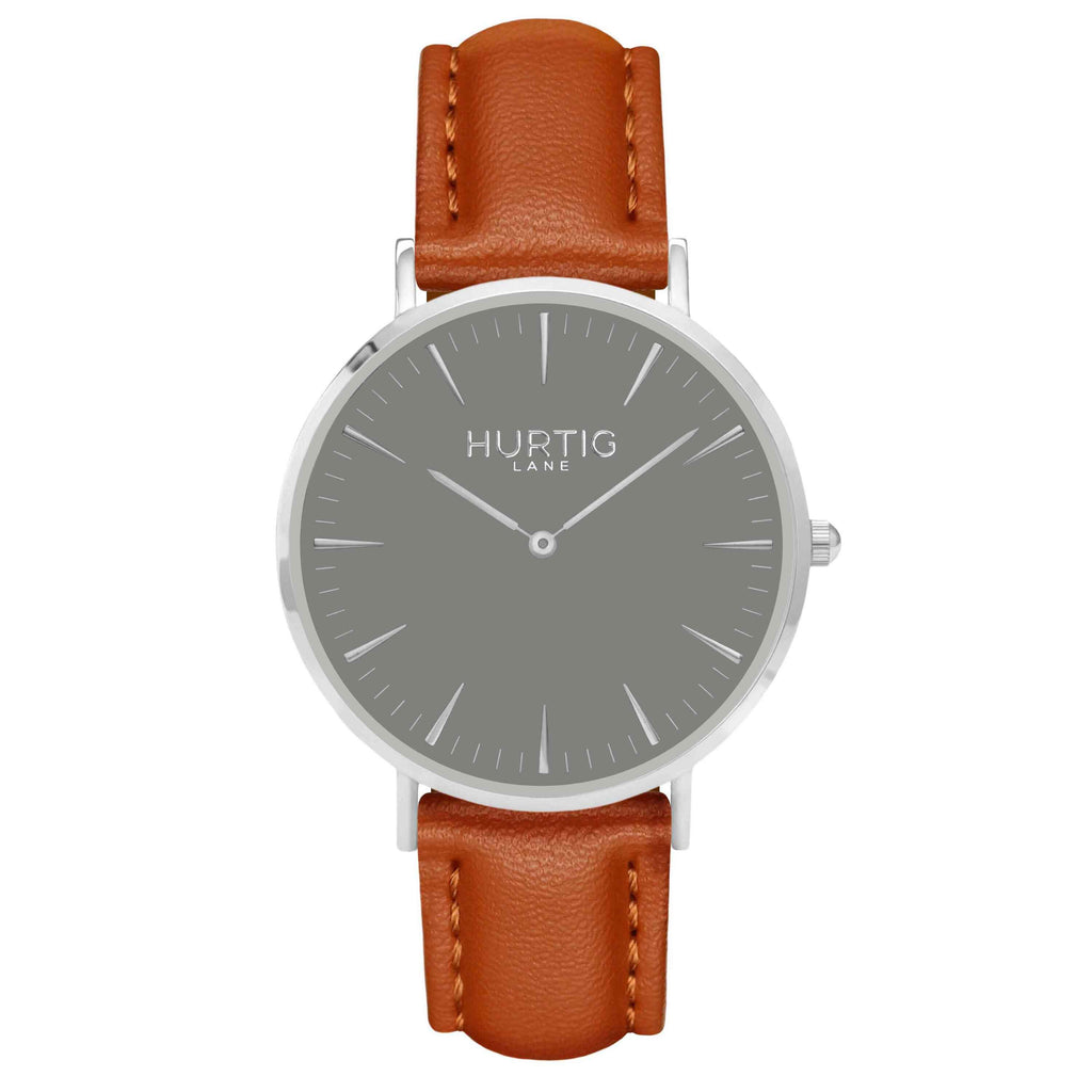 Vegan leather watch silver, grey and tan- hurtig lane- vegane uhren