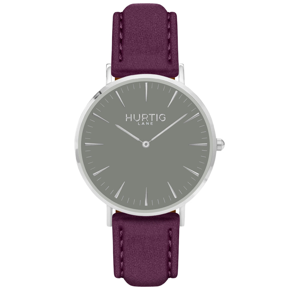 Hymnal Vegan Suede Watch Silver, Grey & Berry - Hurtig Lane - sustainable- vegan-ethical- cruelty free
