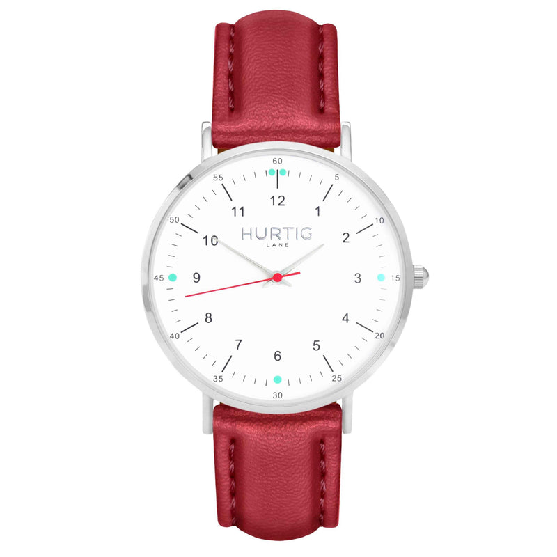 hurtig lane vegan leather watch silver, white and red. Vegane uhren