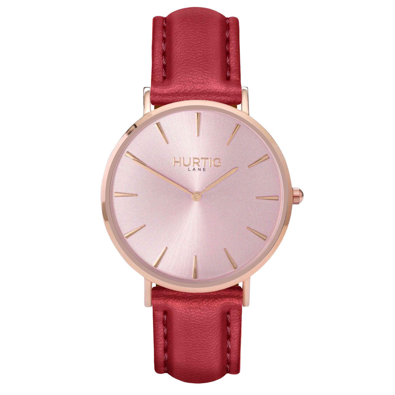 hurtig lane- Vegan leather watch Rose gold and red - vegane uhren