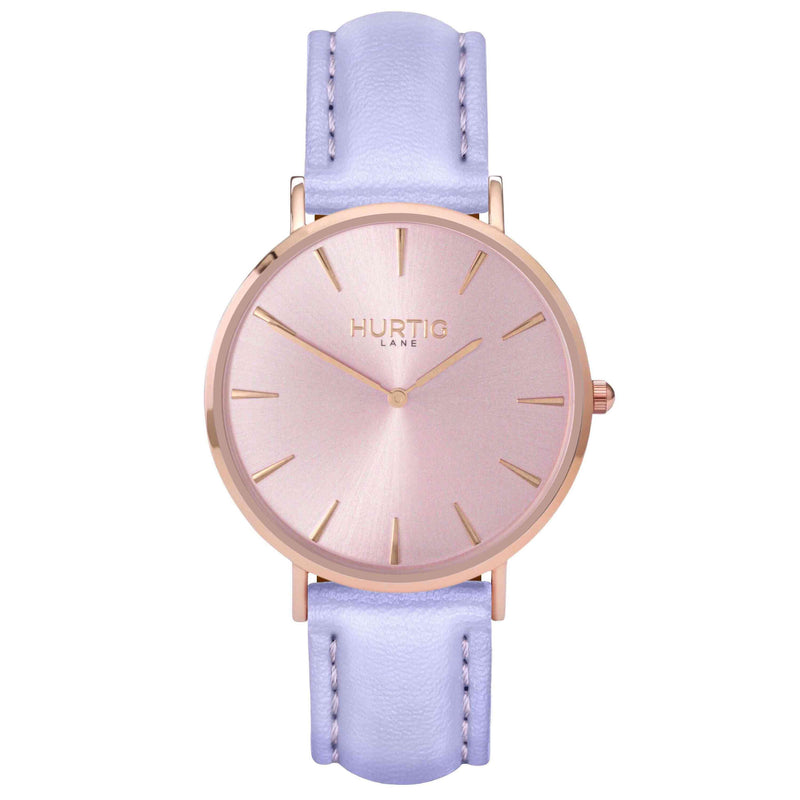 hurtig lane- Vegan leather watch Rose gold and lilac - vegane uhren
