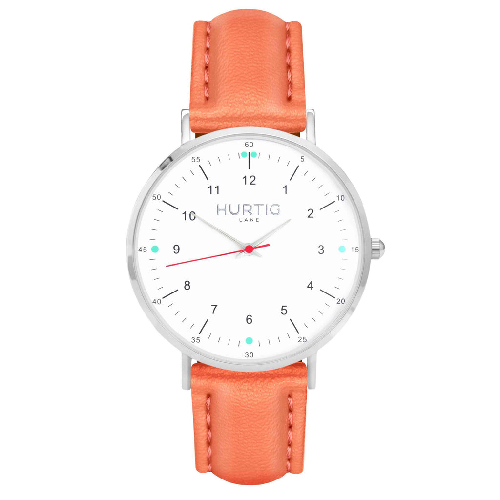 hurtig lane vegan leather watch silver, white and coral. Vegane uhren