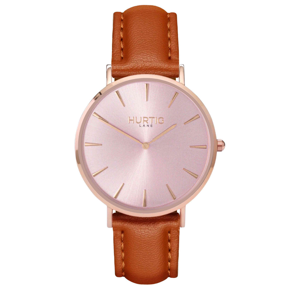 hurtig lane- Vegan leather watch Rose gold and tan - vegane uhren