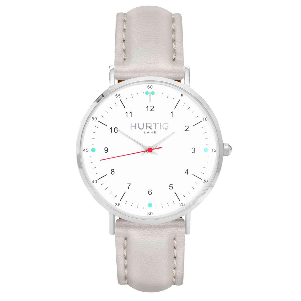 hurtig lane vegan leather watch silver, white and grey. Vegane uhren