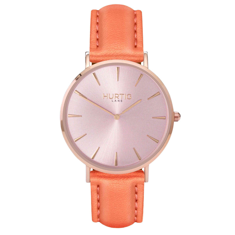 hurtig lane- Vegan leather watch Rose gold and coral - vegane uhren