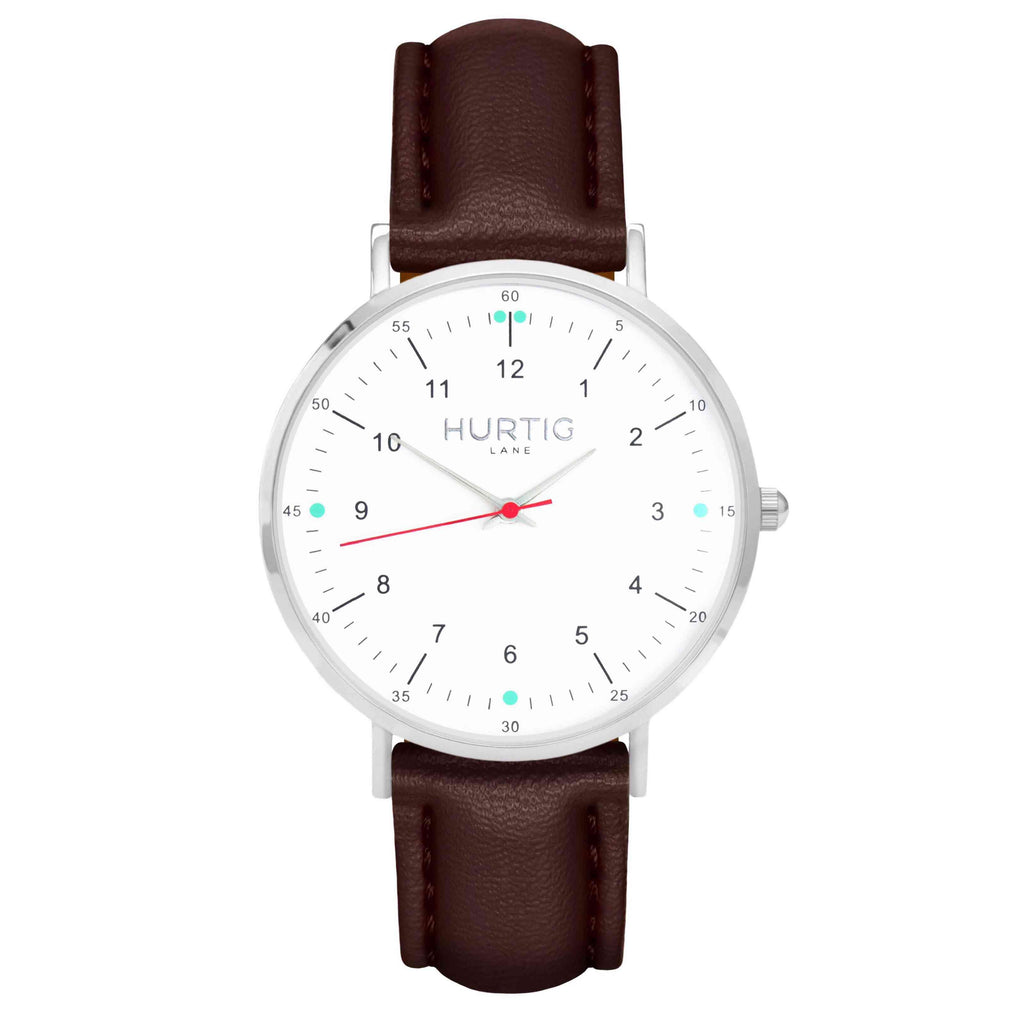 hurtig lane vegan leather watch silver, white and dark brown. Vegane uhren