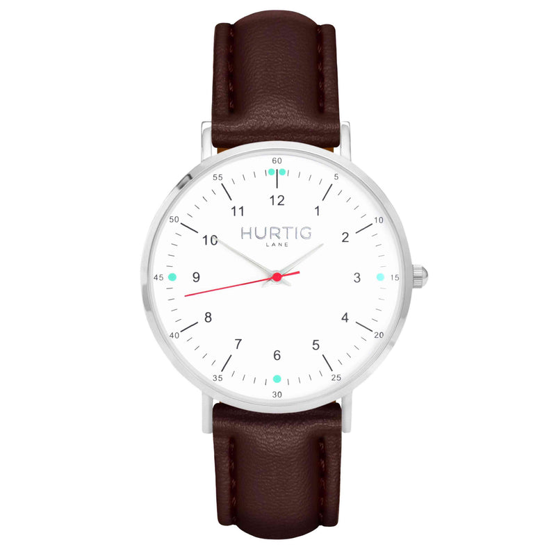 hurtig lane vegan leather watch silver, white and chestnut. Vegane uhren