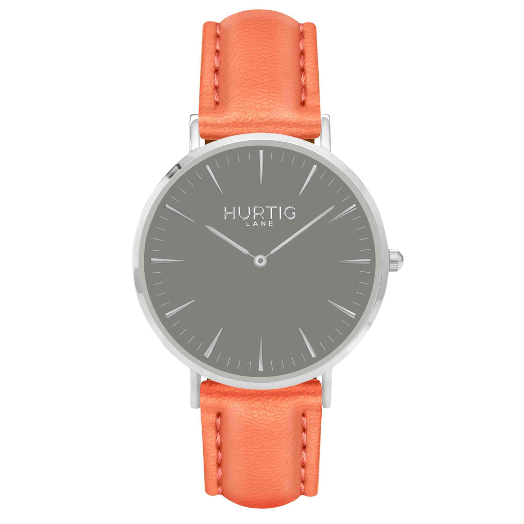 Vegan leather watch silver, grey and coral- hurtig lane- vegane uhren