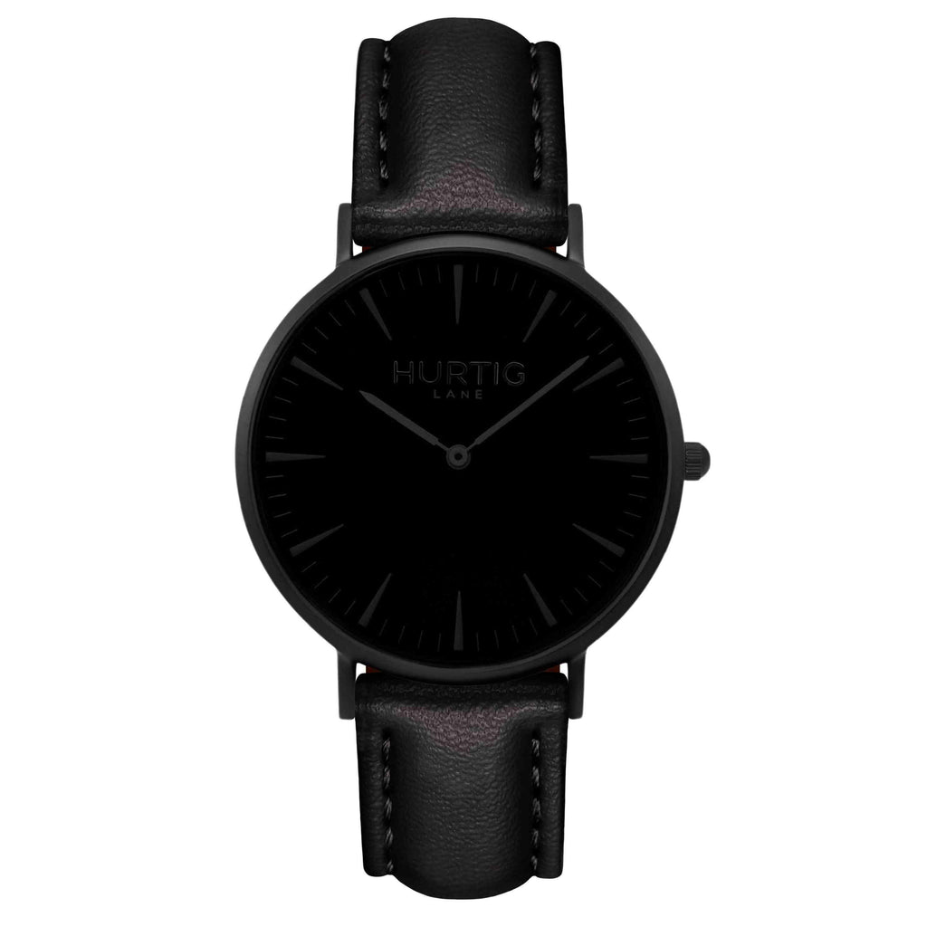 Mykonos Vegan Leather Watch All Black & Black Watch Hurtig Lane Vegan Watches