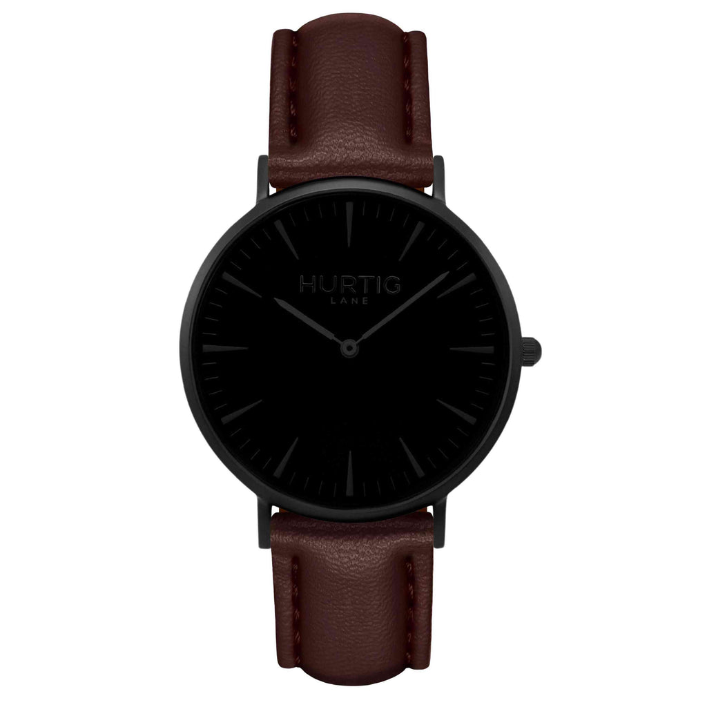Mykonos Vegan Leather Watch All Black & Chestnut Watch Hurtig Lane Vegan Watches