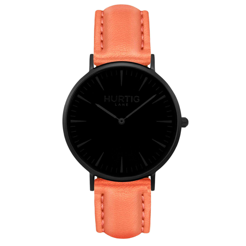 Mykonos Vegan Leather Watch All Black & Coral Watch Hurtig Lane Vegan Watches