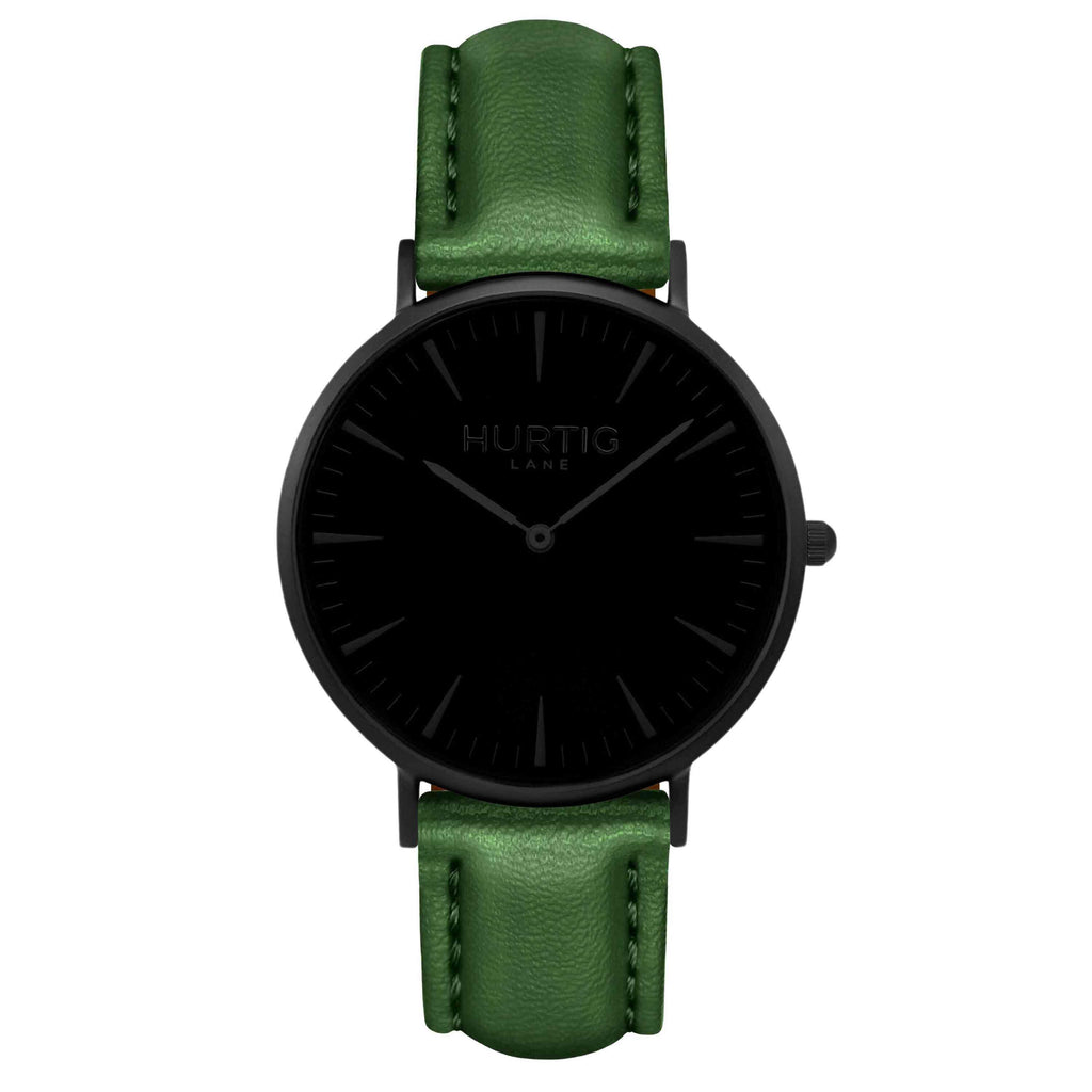 Mykonos Vegan Leather Watch All Black & Green Watch Hurtig Lane Vegan Watches