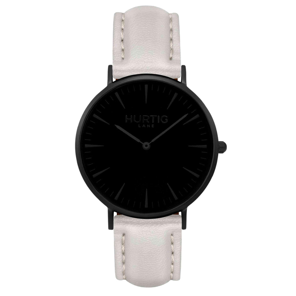 Mykonos Vegan Leather Watch All Black & Cloud Watch Hurtig Lane Vegan Watches