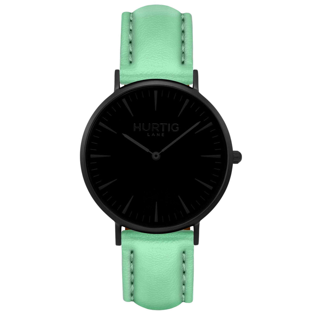 Mykonos Vegan Leather Watch All Black & Mint Watch Hurtig Lane Vegan Watches