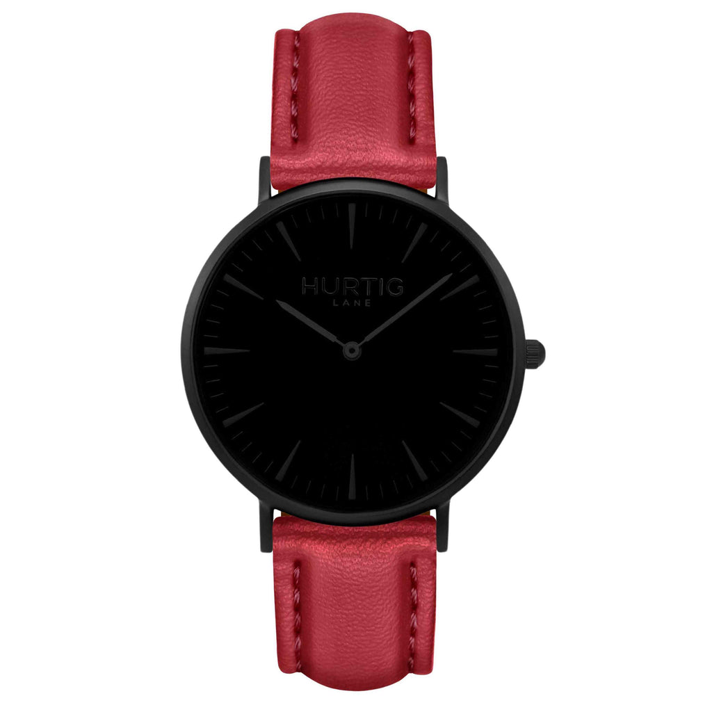 Mykonos Vegan Leather Watch All Black & Cherry Red Watch Hurtig Lane Vegan Watches
