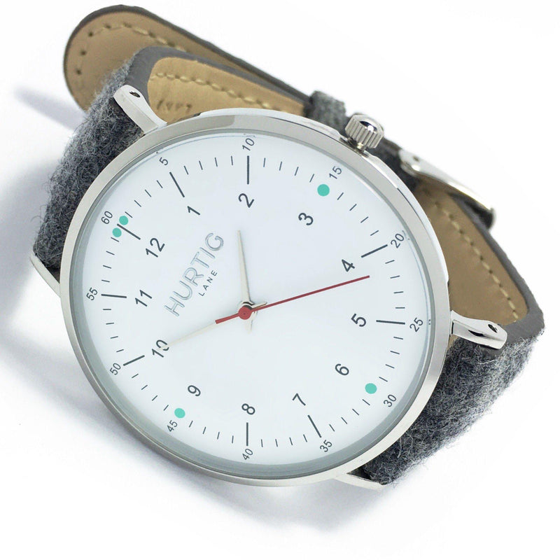 Moderno Vegan Tweed Watch Silver/White/Grey