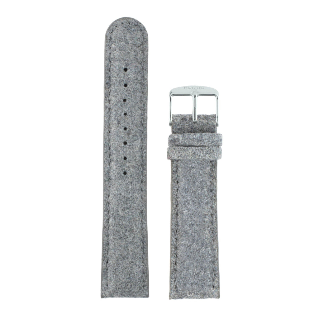Hymnal Grey et Silver Vegan Tweed Strap - hurtig-lane-vegan-watches