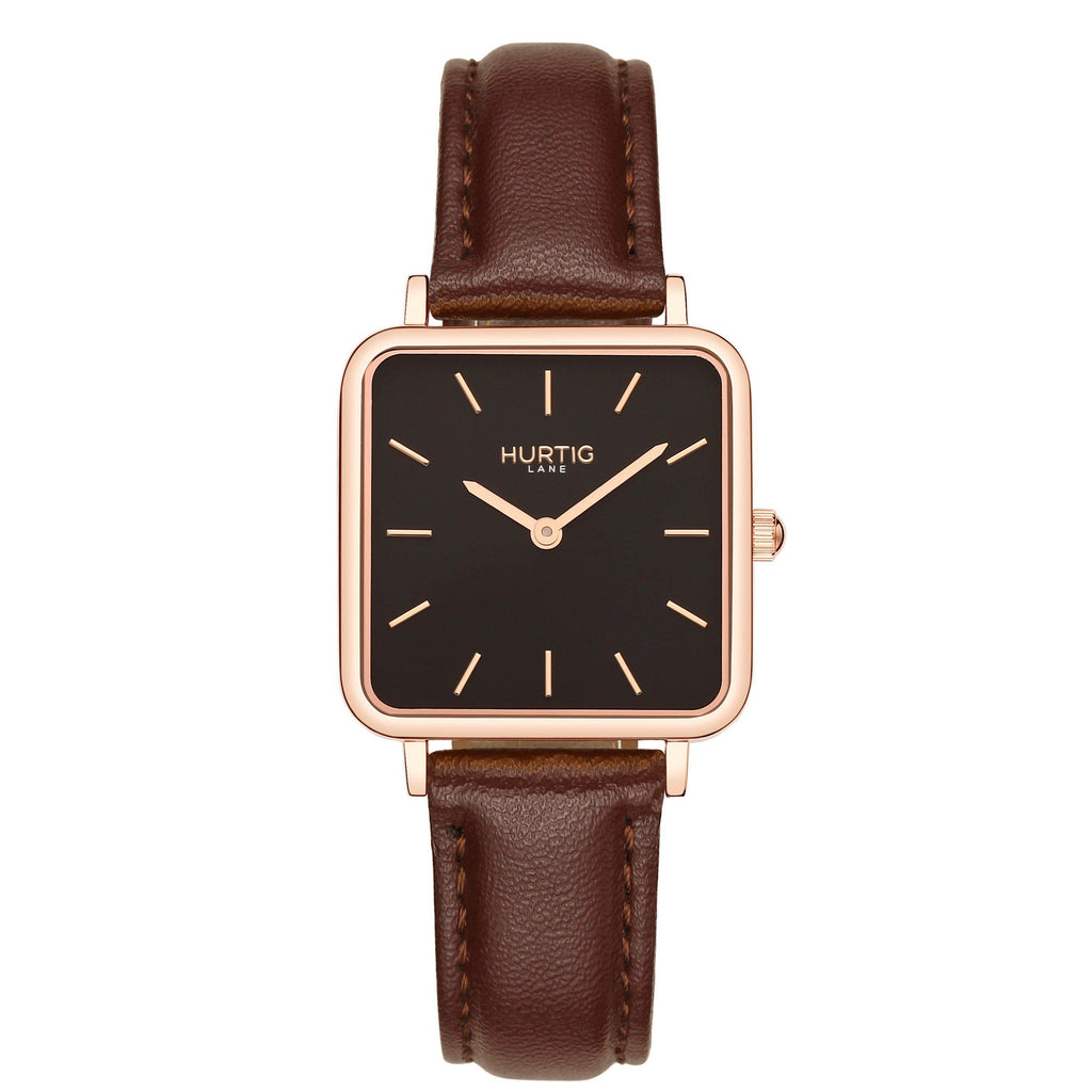Neliö Square Vegan Leather Rose Gold/Black/Chestnut Watch Hurtig Lane Vegan Watches