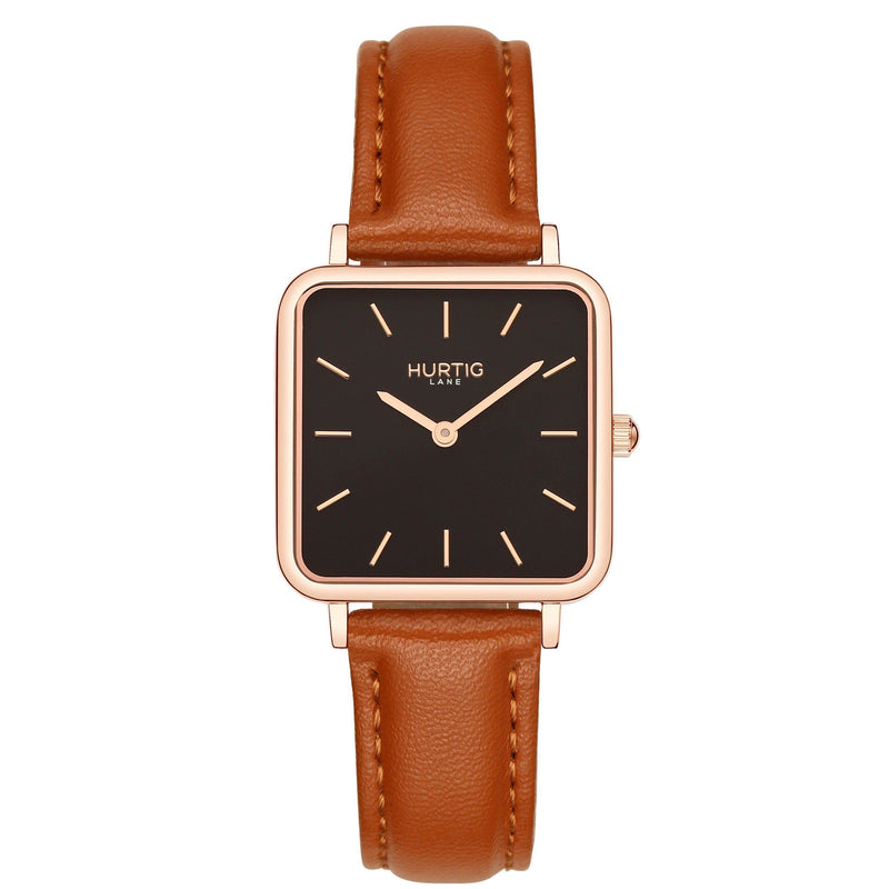 Neliö Square Bewachungen des Strengen Vegetariers von Vegan Leather Rose Gold/Black/Tan Watch Hurtig Lane