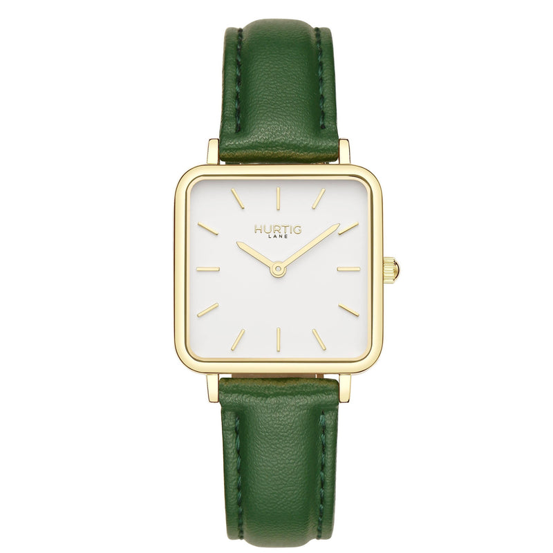 Neliö Square Vegan Leather Gold/White/Black Watch Hurtig Lane Vegan Watches