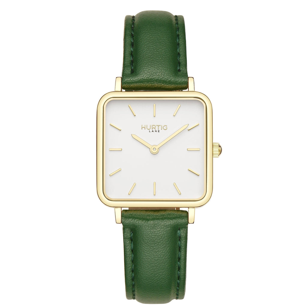 Neliö Square Vegan Leather Gold/White/Green Watch Hurtig Lane Vegan Watches